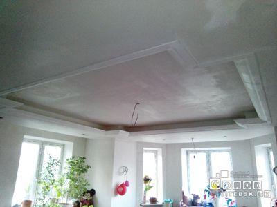 1. двухуровневый потолок гипсокартонн